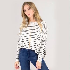 Tops - Striped Crop Front Long-sleeve Tee